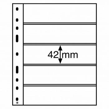 Leuchtturm coin sheets OPTIMA 5 way division clear