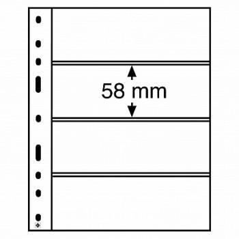 Leuchtturm coin sheets OPTIMA 4 way division clear